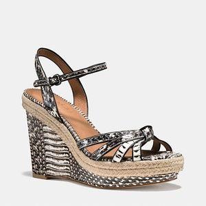 COACH Snake Skin Dalton Espadrille Wedge Sandals